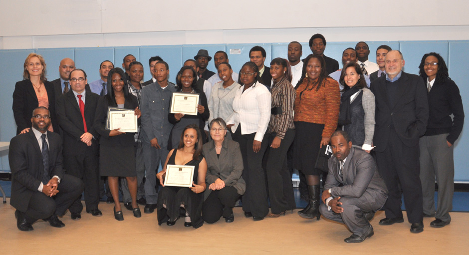 GCF Corps Members at Graduation with representatives from NYC Service, New York City Housing Authority, Community Environmental Center, and GCF Staff.