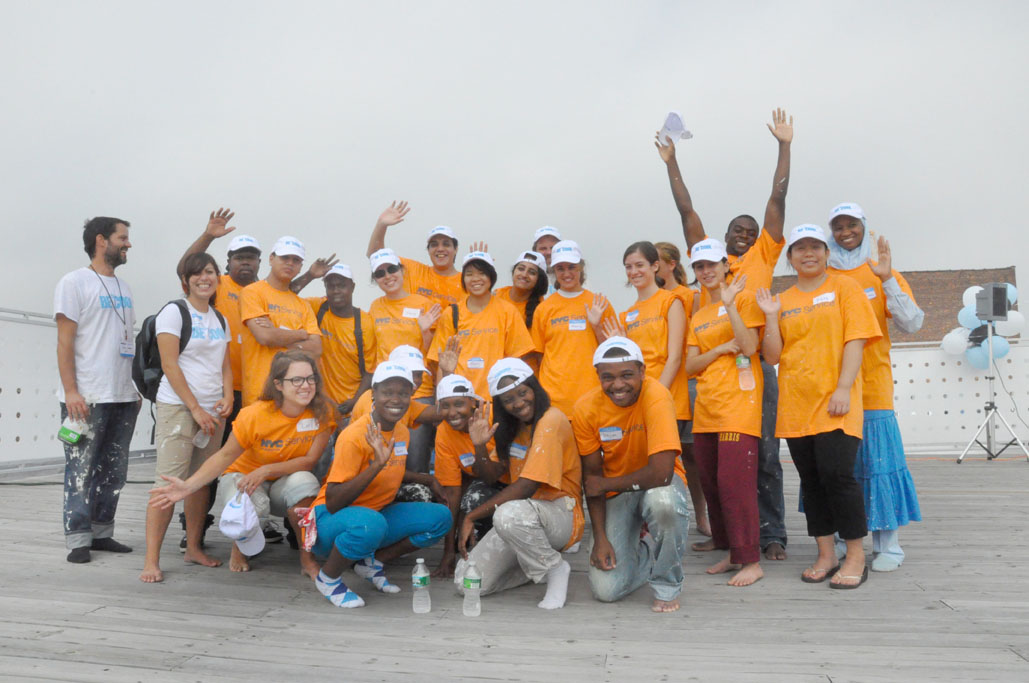 GCF Corps Members and Volunteers after completing a roof