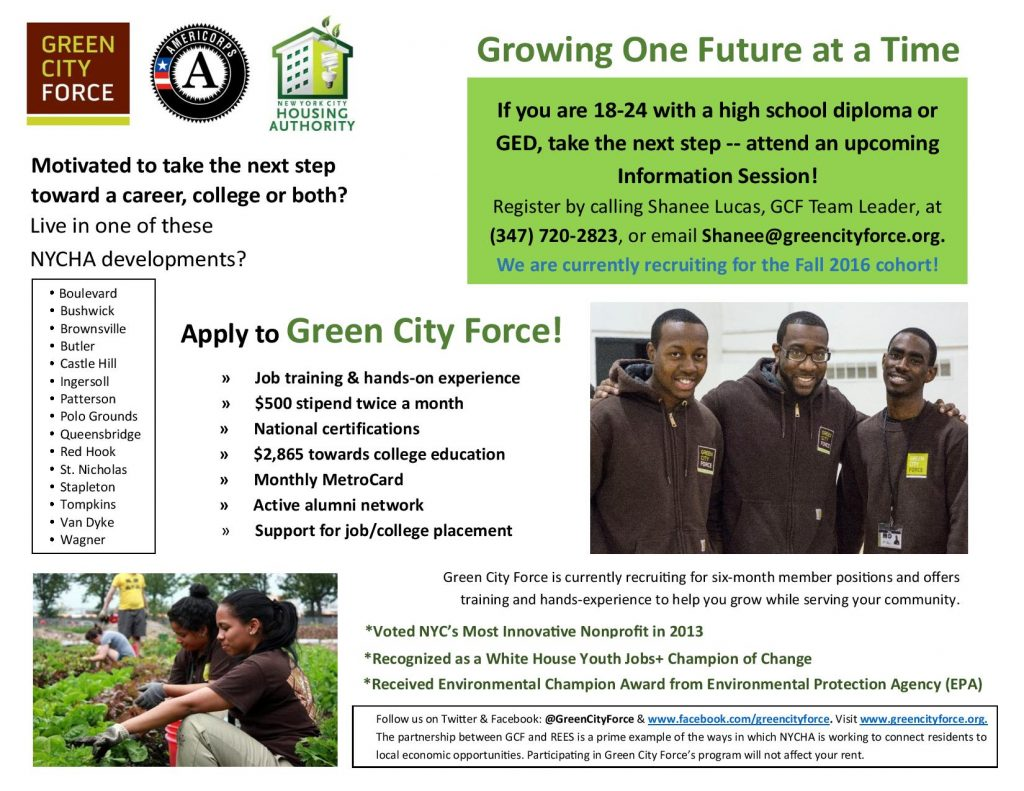 Recruitment Is Open For Our Fall 2016 Clean Energy Corps Green
